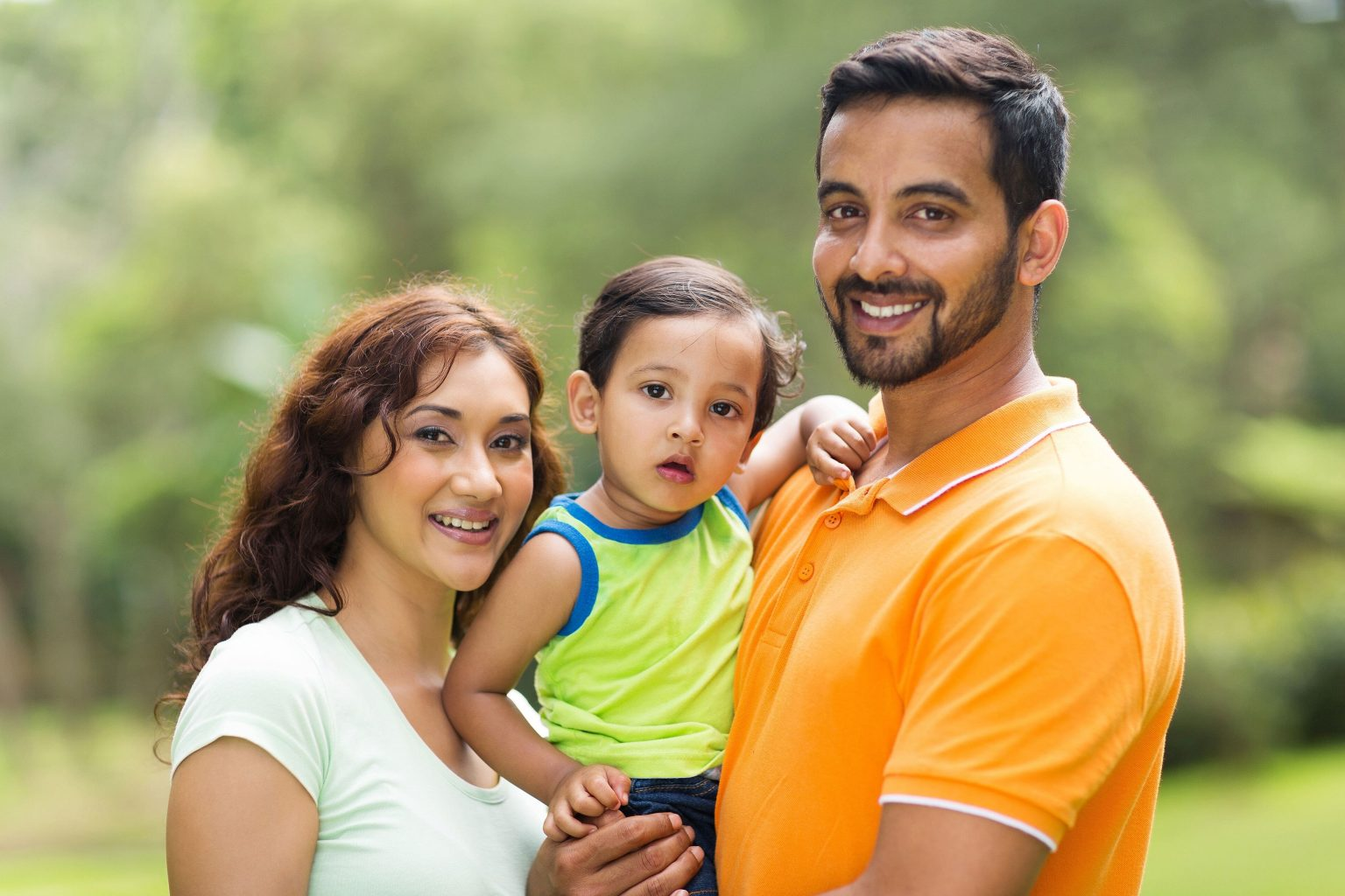 Pediatric Dentistry Of Garden City Indian Family Of Three With Mother, Father, Son
